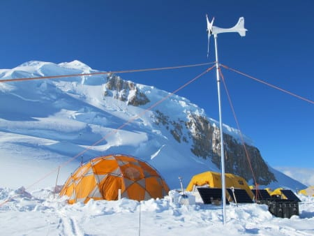 This camp on Mount Hunter in Alaska's Denali National Park and Preserve was home to scientists drilling ice cores in spring, 2013. Scientists are examining the cores to derive past climate information. Photo: Mike Waszkiewicz